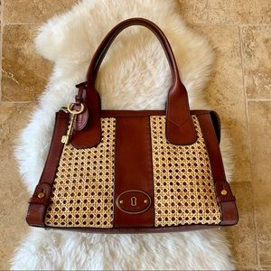 Fossil Vintage Reissue Cane Wicker & Leather Bag